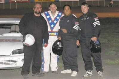 Willy with Evel Dave Radey, winner Sherman Asperin and second-place finisher Dwayne Pettitt. Willy and Evel Dave are claiming their cars were surely tampered with prior to the race!