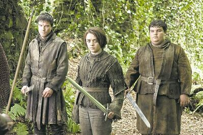 Maisie Williams plays Arya Stark, a member of one of the families vying for the throng of Westeros in Game of Thrones.