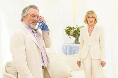 Don (Robert De Niro) and Ellie (Diane Keaton) descend to a sub-Three's Company level of unnecessary deception by  pretending to be  married in The Big (and dismal) Wedding.