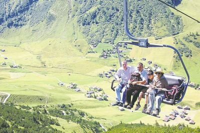 From the top of a ski lift you can hike the ridge which marks the border of Austria and Liechtenstein.