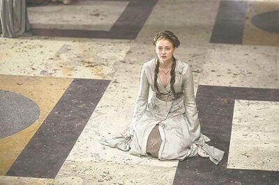Sophie Turner as Sansa Stark in a scene from Game of Thrones.