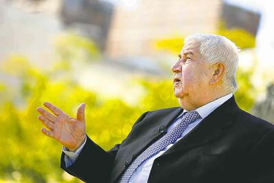 Syrian Foreign Minister Walid al-Moallem gives an interview during the UN General Assembly session.