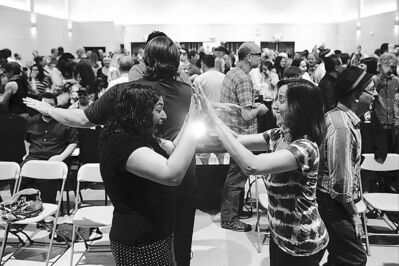 Congregation members play a game at an atheist church in Los Angeles.