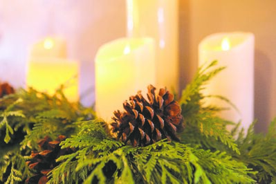 Battery-operated flameless candles are safe and easy to use. Combine with pine cones, cedars and pines for a scented, ambient display on your table top or mantel.