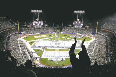 Jae C. Hong / the associated pressTake me out to the... hockey game? Fans cheer another winter classic as the Los Angeles Kings and Anaheim Ducks hit the ice in L.A. on Saturday night at verdant Dodger Stadium.