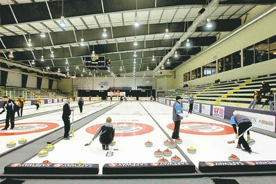 Teams practise for the Safeway Championship at the MTS Iceplex. The provincial men's championship is returning to Winnipeg after a 19-year absence.