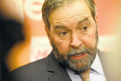 Federal NDP leader Thomas Mulcair spoke at the Manitoba Legislative Building today.