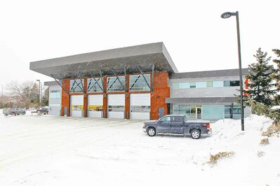 The new fire-paramedic Station  No. 11 inside the cloverleaf at  Portage Avenue and Route 90.