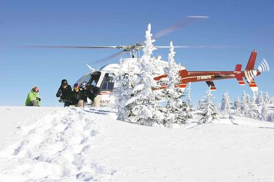 The Bell 407 'copter is perfect for small groups of only five skiers, guide and pilot. (Steve MacNaull)