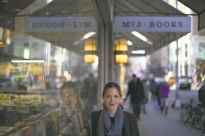 Former Winnipegger Sarah McNally stands outside the McNally Jackson bookstore in lower Manhattan. She is opening a second bookstore in Brooklyn.