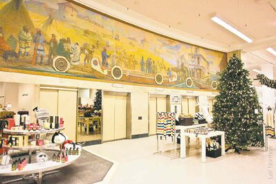 A beautiful mural depicting Hudson Bay history, at the downtown Hudson Bay store. The 16.5-metre by threemetre oil-on-canvas mural hung above the main-floor elevators in the Bay's downtown store from 1927 until last January.