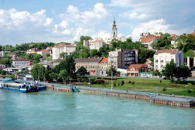 A view of Old Town Belgrade from the Brankov Bridge with the Sava River in the foreground.
