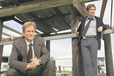Jim Bridges / HBO HBO�s True Detective won two TCAs, including outstanding achievement in movies, miniseries and specials. Matthew McConaughey, seen here with Woody Harrelson (left), won for individual achievement in drama.