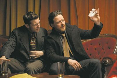 Jamie Bell (left) and James McAvoy (right) star in Filth.