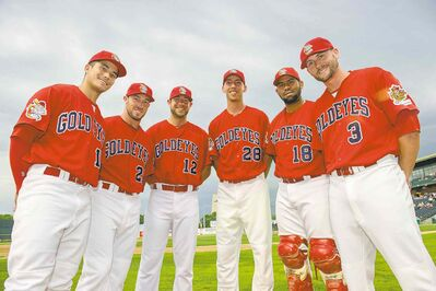 The Goldeyes landed six players on the 2014 American Association All-Star Team (from left) Ryan Pineda, Donnie Webb, Casey Haerther, Chris Kissock, Luis Alen and Tyler Kuhn.