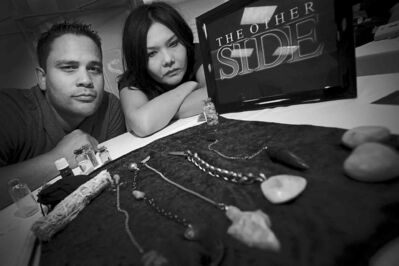 Paranormal investigators Jeff Richards and Priscilla Wolf, from the paranormal documentary series, The Other Side, are seen Sunday at Winnipeg Paracon 2014 at the Marlborough Hotel.