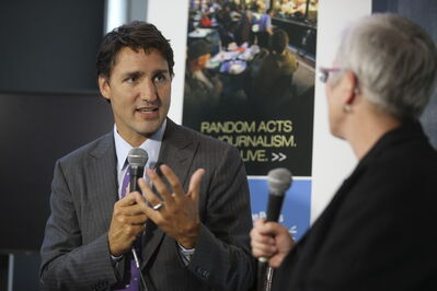 Liberal party Leader Justin Trudeau turns on the charm and charisma Friday at the Free Press News Cafe in Winnipeg.