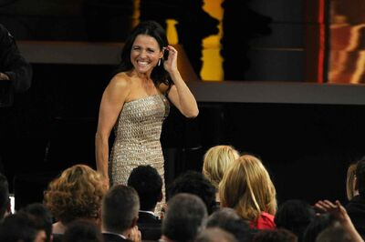 Julia Louis-Dreyfus reacts as it was announced that she won the award for outstanding lead actress in a comedy series for her role in Veep.