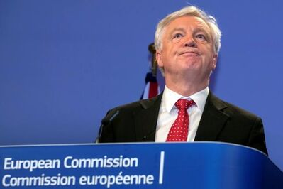 British Secretary of State for Exiting the European Union, David Davis pauses during a media conference with European Union chief Brexit negotiator Michel Barnier at EU headquarters in Brussels on Thursday, Oct. 12, 2017. Brexit talks have made little progress, the European Union's negotiator said Thursday, meaning he cannot yet recommend broadening the negotiations beyond the focus on the terms of Britain's exit to include key issues such as future trade relations. (AP Photo/Olivier Matthys)