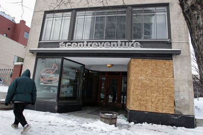A vehicle smashed through the front window of the CentreVenture building at 492 Main St. overnight.