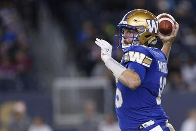 JOHN WOODS / THE CANADIAN PRESS FILES Winnipeg Blue Bombers quarterback Matt Nichols (15) looks for his receivers during the first half of CFL action against the Hamilton Tiger-Cats in Winnipeg Friday, October 6, 2017. Blue Bombers injured quarterback Matt Nichols says he never doubted he'd be healthy enough to play against the Edmonton Eskimos, but he's amped up his preparations for Sunday's CFL West Division semifinal at home in Winnipeg.