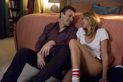 Jason Segel, left, and Cameron Diaz in happier moments, before they broadcast their indecent exposure; below, Diaz and Segel with Ellie Kemper and Rob Corddry.