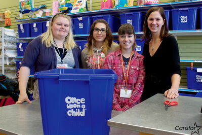 Once Upon A Child is looking to help out local agencies. The store, which sells children's items, is located at 2A-1600 Regent Ave. W. Shown from left to right are employees Ashlea Zirk, Leeze Bencze, Karlie Klassen and owner Chantelle Harder.