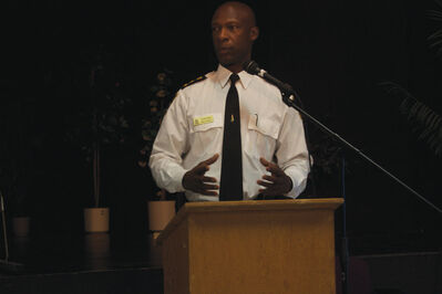 Winnipeg Police Service chief Devon Clunis speaks during a community forum at Elmwood High School on April 16.