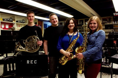 Tyson Reimer (French horn), Jeff Kula (instructor), Abby Ziprick (alto saxophone), and Emily Hodge (tenor saxophone) were all part of the River East Collegiate jazz program that was recently honoured at the Optimist Inernational Jazz Festival.