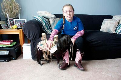 Eight-year-old Jerzee Wasylnuk, who has cerebral palsy, has benefited greatly from Manitoba Riding for the Disabled's programming.