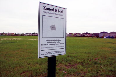 The River East Transcona School Division has land under option to it along Edmund Gale Drive in Canterbury Park. The division recently declined options in Harbour View South.