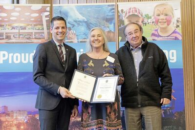 Basil and Donna Lagopoulos of Desart in Osborne Village accepted the Mayor's BIZ Award from Mayor Brian Bowman on May 14.