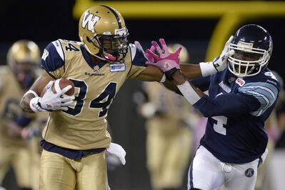 Wallace Miles had a six-catch/100-yard performance against the Toronto Argonauts on Oct. 24th