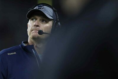 Winnipeg Blue Bombers' head coach Mike O'Shea during the second half of CFL action against the Saskatchewan Roughriders in Winnipeg Thursday, August 7, 2014.
