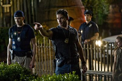 "This image released by Sony Pictures shows Joel McHale, left, and Eric Bana in a scene from Screen Gems' ""Deliver Us From Evil."""
