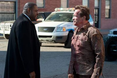 Whitaker, left, and Schwarzenegger in  The Last Stand.