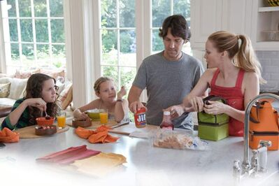 From left,  Maude Apatow,  Iris Apatow, Rudd and Mann  in This Is 40.