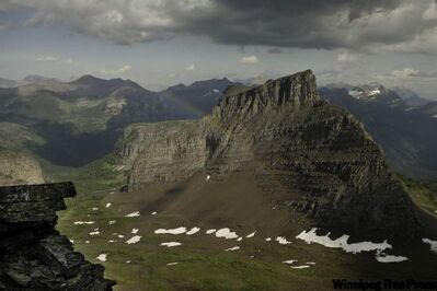 The view south into Montana's Glacier National Park from the Grizzly Wide Pass in Flathead Valley, B.C.