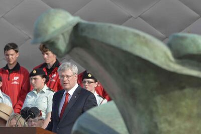 Canadian Prime Minister Stephen Harper was among Canadian dignitaries who took part in bi-national ceremony of Remembrance marking the 70th anniversary of D-Day at Juno beach in Courseulles-sur-Mer, France, on June 6.