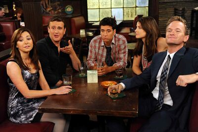 From left, Hannigan, Segel, Radnor, Smulders and Harris are leaving MacLaren's Pub for the last time on March 31.
