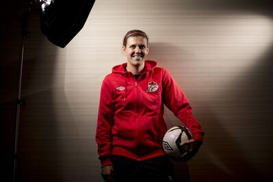 Canadian National Soccer team member Christine Sinclair poses for a photo in Richmond, B.C., on Tuesday, December, 18, 2012. THE CANADIAN PRESS/Jonathan Hayward
