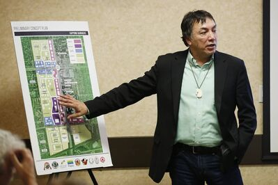 Chief Dennis Meeches speaks about his community's plans for the Kapyong Barracks site at a conference in November, 2019.