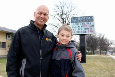 Allen Vilar (left) and Evan Loewen, pictured outside Hastings School, have established an important bond in the classroom.