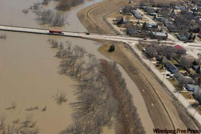 The Morris dike, photographed during a government helicopter tour of the flood zone on Monday April 11.