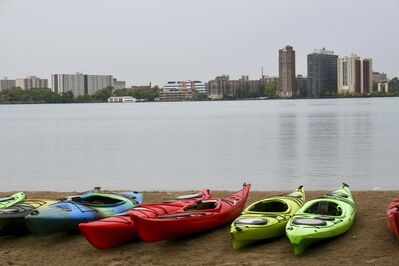 Detroit&rsquo;s downtown skyline is seen from the sandy shore of Belle Isle Park where kayaking tours down the Detroit River commence.</p></p>