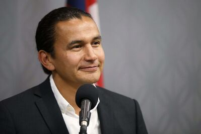 JOHN WOODS / WINNIPEG FREE PRESSWab Kinew, Manitoba NDP leader, speaks at a press conference in Winnipeg Sunday, August 25, 2019.</p>