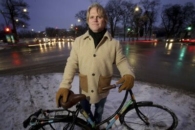 SHANNON VANRAES / WINNIPEG FREE PRESS</p><p>Brent Bellamy's Dutch cruiser was damaged when he was hit by an SUV at the intersection of Academy Road and Wellington Crescent late last year.</p>