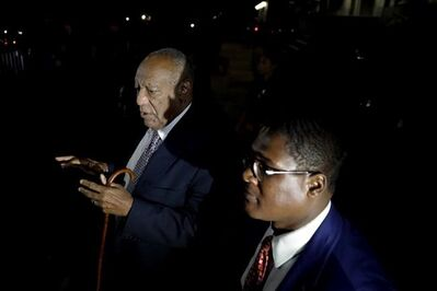Bill Cosby speaks to the media as he leaves the Montgomery County Courthouse during his sexual assault trial, Friday, June 16, 2017, in Norristown, Pa. (AP Photo/Matt Slocum)