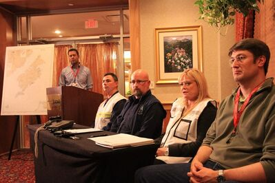 Shell Oil incident commander Susan Childs, second from right, answers a question about the Monday night grounding of the Shell drill ship Kulluk at a press conference on Monday, Dec. 31, 2012, at the Mariott Hotel in Anchorage, Alaska. Looking on are Shell Alaska spokesman Curtis Smith, standing, Coast Guard Commander Shane Montoya, state on-scene coordinator Alan Wien, and Garth Pulkkinen of Noble Corp., the operator of the Kulluk. The drifting Shell drill ship that broke loose from tow vessels during a severe Gulf of Alaska storm ran aground Monday in shallow water off Sitkalidak Island, company officials said. (AP Photo/Dan Joling)