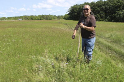 Sioux elder Calvin Pompana points to a suspected ancient Sioux grave in a farm field near St. Laurent.